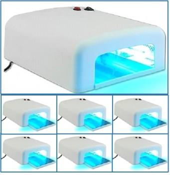 6 × Lampada UV 36W per ricostruzione unghie, con timer e 4 bulbi a doppio pin inclusi