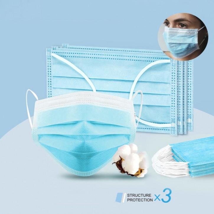 Maschera chirurgica monouso, a 3 strati, maschera facciale efficace per protezione dalla polvere, certificato CE ed FDA.
