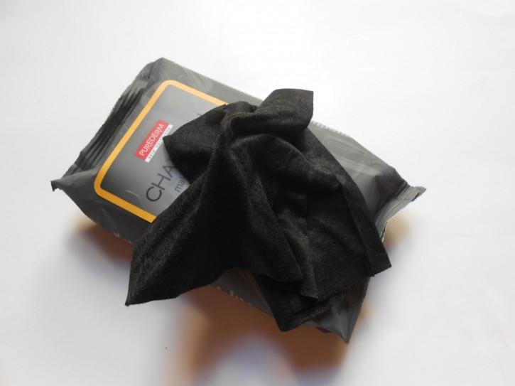 Purederm Charcoal Makeup Remover Cleansing Towelettes, Salviette detergenti al carbone, salviette per il viso