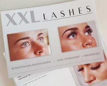 """Dépliant 100 pezzi del salone """"XXL Lashes Extension di Ciglia"""" (A6, lucido, 6 facciate)"""
