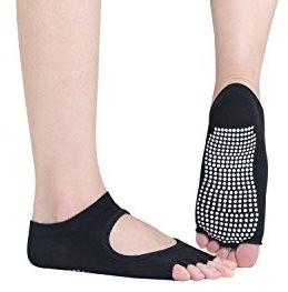 2 coppie Calzini da yoga antiscivolo, con apertura in punta con rilievi antisdrucciolo