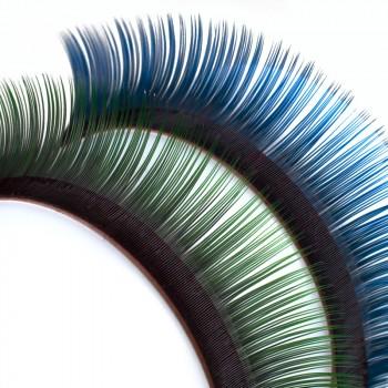 Ciglia bicolore, con base nera intensa e punte blu o verdi