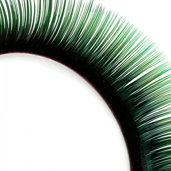 Two-tone Mink-Lashes, black/green, 8—14 mm