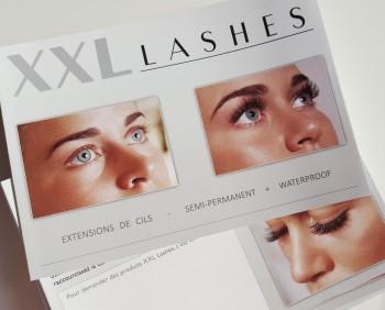 """Dépliant 100 pezzi del salone """"XXL Lashes Extension di Ciglia"""" (A6, lucido, 6 facciate) - francese"""