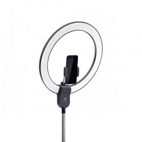 Lampada ad anello AURA, luce diurna a LED con supporto per smartphone e porta USB per un'illuminazione senza ombre, ideale per applicazioni di prodotti cosmetiche, per bloggers, selfie e fotografia